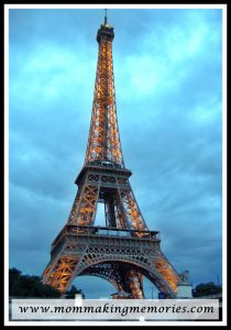 Eiffel tower at night in Paris France