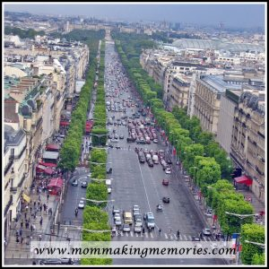 View from the Arc de Triomphe over Champs Elysees. www.mommakingmemories.com