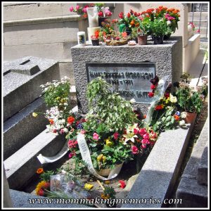 Pere Lachaise graveyard in Paris. James Morrison grave. www.mommakingmemories.com